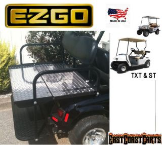 EZGO TXT Golf Cart Rear Flip Down Seat Kit w/ Diamond Plate Flat Bed