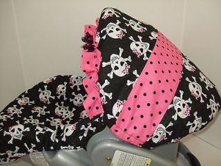 NEW CUTIE SUGAR SKULL/PINK & BLACK DOTS RUFFLE INFANT CAR SEAT COVER