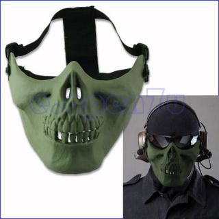 Hunting War Game Half Face Skull Plastic Mask Shield Army Green