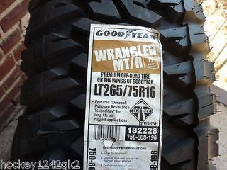 New LT 265 75 16 Goodyear Wrangler MT/R 8 Ply Mud Tires