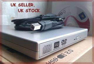 Ultra Slim External CD & DVD RW Burner USB Silver DRIVE for Sony Asus