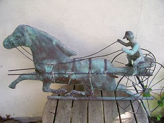 19th Century American Copper Running Horse & Sulky Weathervane