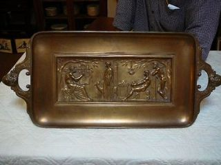ANTIQUE BRONZE TRAY GREEK SCENE HOMER FERDINAND LEVILLAIN BARBEDIENNE