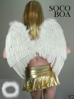 LARGE White Feather Angel Wings Photo Props FREE Halo halloween