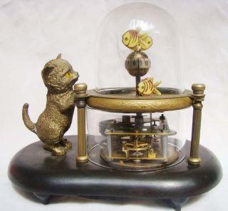 Wonderful fish pot glass machine clock with cute cat