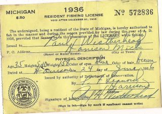 1940 new hampshire 3day non resident fishing license for Michigan out of state fishing license