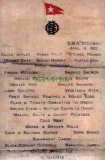 Titanic White Star Line First Class Breakfast Menu 11th April 1912