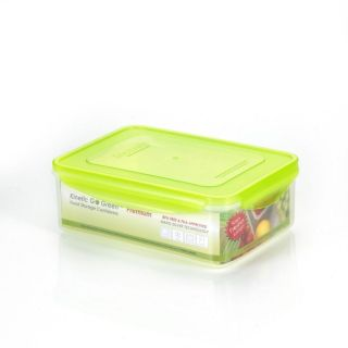 Go Green 2.75 Quart Premium Rectangular Plastic Food Storage Container