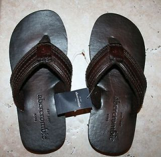 Boys Small Size 5/6 Rugged Brown Leather Upper Flip Flop Sandals