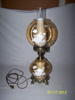 GWTW PARLOR STYLE 2 WAY LIGHT AMBER GLASS HURRICANE LAMP w/BRASS BASE