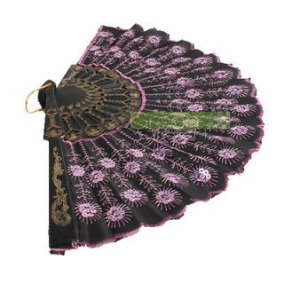 Fabric Hand Held Fan Xmas Party Dancing Wedding Fan Pink Sequins Black