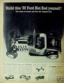 ~1932~ Model Ford Roadster~Indanapolis Racer~Car Kit Toy Hot Rod Ad