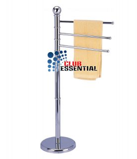 Arms Chrome Towel Stand Rack Rail Free Standing