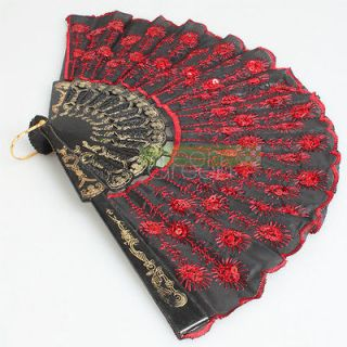 Fabric Hand Held Fan Xmas Party Dancing Wedding Fan Red Sequins Black