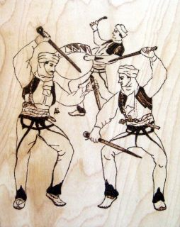 Albanian Art Men dancing in ethnic costumes and swords Pyrography
