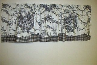 French Decor Valance Waverly La Petite Ferme Fabric Black on Ivory