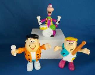 Lot of 1991 Flintstones PVC Figures Fred, Barney & Dino in Band