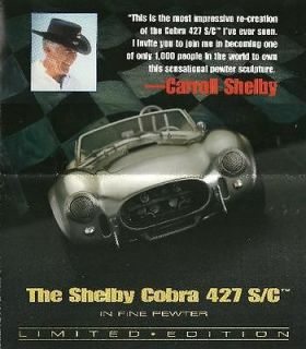 Franklin Mint PEWTER SHELBY COBRA 427 S/C Large Fold Out Brochure