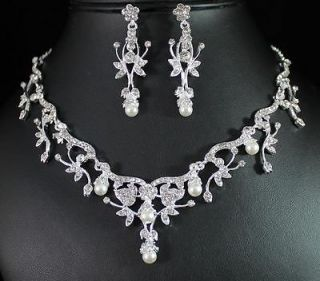 CLEAR AUSTRIAN RHINESTONE PEARL NECKLACE EARRINGS SET BRIDAL N1384