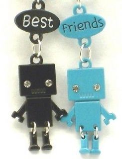 Best Friend Robot Charm 2 Pendant 2 Necklace Blue/Black BFF Friendship
