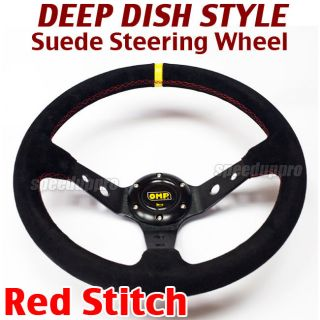 350mm Suede Deep Dish Steering Wheel Corsica Style 14 inch BLACK (Red