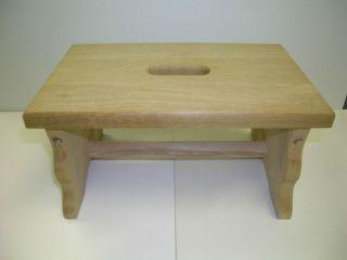 New Oak Wood Step Stool, Unfinished & Preassembled