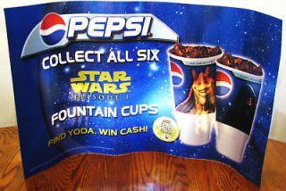 Pepsi Star Wars Episode 1 Transparent Plastic Machine/ Cooler sign