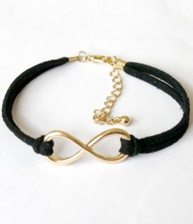 TOPSHOP LOVE AS INFINITY sign GOLD charm on Black Friendship Bracelet