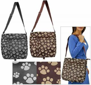 MESSENGER BAG BLACK GREY PAW PRINT CROSS BODY SHOULDER ANIMAL RESCUE