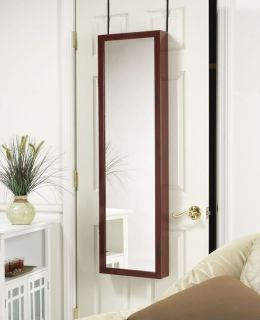 MIRROR JEWELRY ARMOIRE ORGANIZER OVER DOOR OR WALL HANG CHERRY FREE