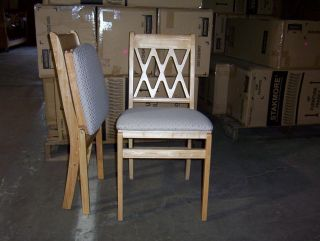 Style # 225 Stakmore Wood Folding Padded Seat 2 Chairs Natural Finish