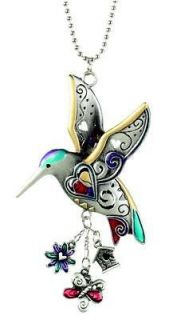 Car Charm 2 Sided Colored Hummingbird Rearview Mirror Ganz