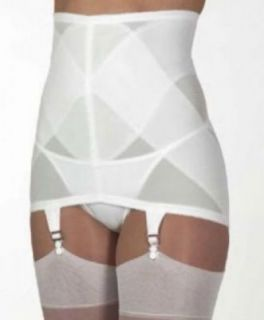 Firm Control White Open Bottom Girdle Garter Belt w/6 Garters M 28