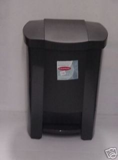 NEW BLACK PLASTIC KITCHEN STEP ON GARBAGE TRASH BIN CAN