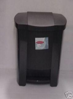 NEW BLACK PLASTIC KITCHEN STEP ON GARBAGE TRASH BIN CAN