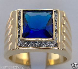 MENS lab created 9.1 carat Montana Sapphire ring 18k yellow gold