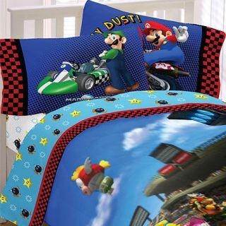 4pc SUPER MARIO KART Racing FULL SHEET SET   Nintendo Video Game