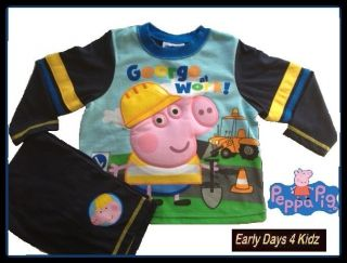 BOYS PEPPA PIG GEORGE PYJAMAS SLEEPWEAR LONG SLEEVED SIZE 1,2,3,4,5