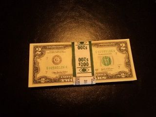 10 Face Value   (5) $2 Dollar Bill Federal Reserve (G) Bank Note