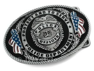 PROTECT AND TO SERVE POLICE OFFICER LIBRA Mens Metal Belt Buckle