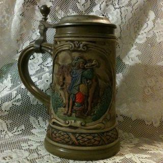 Vintage Handarbeit 12 German Lidded Beer Stein Mug Cup Gerzit Gerz
