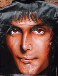 Queen  Freddie Mercury  Girls Black leather Airbrushed Jacket size