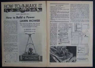 Vintage Reel Mower HowTo Motorize 1944 PLANS gas engine