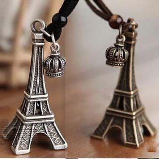 Unique Eiffel Tower Crown Necklace Sweater Chain //