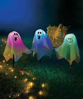SET OF 3 COLOR CHANGING LIGHTED GHOST STAKES OUTDOOR YARD HALLOWEEN