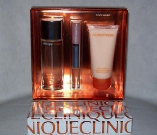 CLINIQUE 3 PIECE *HAPPY* PERFUME, LIPGLOSS & BODY LOTION SET ~ NEW