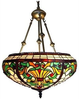 Victorian Tiffany Style Stained Glass Hanging Pendant Ceiling Lamp