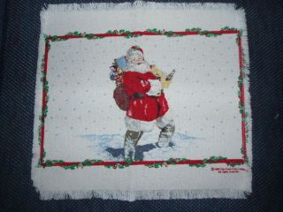 COKE   COCA COLA SANTA TABLE MAT, 12.5 x 13.5 wide, cotton blend
