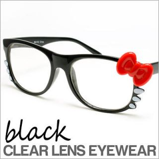Black Frames Clear Lens Cat Glasses Hello Kitty Style Anti Glare New