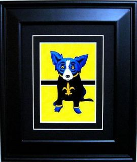 FRAMED GEORGE RODRIGUE BLUE DOG SAINTS POSTCARD   11.5 x 13.5